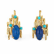 70s Brutalist Turquoise Lapis Earrings Vintage 14k Yellow Gold Large Jewelry