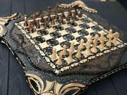 3 In 1 - Backgammon Chess And Checkers Carved Board And Figures