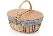Picnic Time Country Picnic Basket With Liner, Navy/white Stripe, One Size.