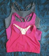 Old Navy Active Go-dry Medium Support Sports Bra Xxl 2x Strappy Plus Lot Of 3