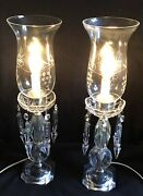 2 Vintage Crystal Electric Candle Hurricane Lampsetched Globetable mantle 18