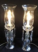 2 Vintage Crystal Electric Candle Hurricane Lamps,etched Globe,table mantle 18