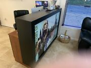Wood Reception Desk, Made In The Us 2 Drawer And 2 Cabinets And Middle Storage