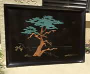 Vntg Large Couroc Of Monterey Lone Cypress Tree Inlaid Turquoise Tray Sgnd Morse
