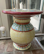 Mackenzie-childs Vintage Pottery Side Table Base Pedestal. No Glass Local Pickup
