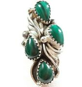 Navajo Signed C Sterling Elongated 4 Stones Malachite Size 6.25 Ring 6.6gr