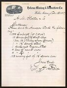 Wickes Mt 1887 -- Helena Mining And Reduction Co -- Vintage Letter Head Rare