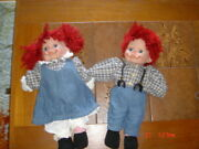 The Broadway Collection Dolls Lot Of 2 Boy And Girl Red Yarn Hair- Porcelain
