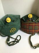 2 Vintage Girl Scout Canteens Plaid And Green Pair
