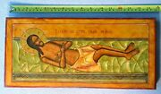 1850y. Russian Imperial Orthodox Icon Jesus Christ His Tomb Oil Paint Cross Pin