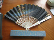 Vtg Victorian Made In Spain Forgado Hand Fan Hand Painted Gold Floral Box