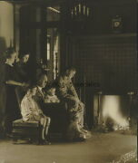 Rare 1920's Ty Cobb W/ Family Detroit Tigers In Front Of Fireplace Candid Photo