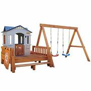 Real Wood Adventures Chipmunk Cottage Outdoor Wooden Backyard Playset With Swing
