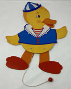 Vintage Wooden Jumping Jack Toy - Sailor Duck 1990 West Germany