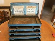 Antique Metal Tool Box Vintage Condition Six Drawer Toolbox Machinist