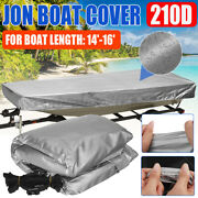 For Jon Boat Cover 210d Silver Waterproof Sun Protection Boat Length 14and039-16and039