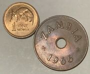 1966 Zambia 1 Penny And 1968 1 Ngwee