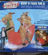New 2004 Gemmy Over 6' Reindeer On Sleigh Lighted Christmas Inflatable Airblown
