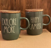 Nwt Rae Dunn Explore More And Happy Camper Army Green Grey Mugs W Wood Coaster Lid