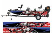 Distressed American Flag And Shark Fishbones Modern Lines Graphic Vinyl Boat Wrap