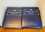 4 Vintage Navy Blue Binders Filled W/ Collectible Usa State Quarters.