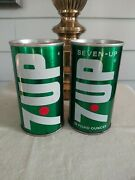 7up Vintage Empty Soda Cans Pop Lot Of 2 The Uncola Nice Condition.