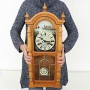Hermle Mantel Top Clock Vintage Mini Baby Grandfathers Chime Wood Rare Germany