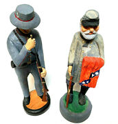 Civil War Memorabilia Hand Carved Blue And Grey Soldiers