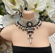 Vtg Miriam Haskell Glass Baroque Pearl Woven Collar Bib Necklace Black And White