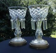 Matching Pair Vintage Waterford Style Cut Crystal Glass Mantle Lamp W Prisms 14