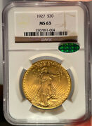 1927 20 Ngc Ms 63 Cac St Gaudens Gold Double Eagle