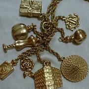Christian Dior 9 Charm Long Chain Necklace Pendant Gold Tone Jewelry Vintage