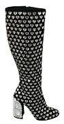 Dolce And Gabbana Shoes Black Suede Crystal Hearts Boots Eu39 / Us8.5 Rrp 5600
