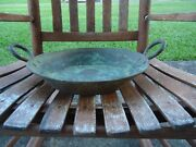 Vintage Rustic Paina Large Hammered Copper Bowl Or Pan