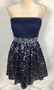 My Michelle Sz 9 Blue Short Strapless Dress Prom Homecoming Lace Top Sequins Ski