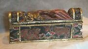 Antique Asian Wood Carved Painted Gilt Storage Box W/exotic Animals ,creatures