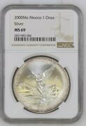 2000 Mexico Silver Libertad 1 Onza Ngc Ms 69 Low Mintage 340k Only 2 Higher