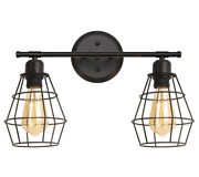 2 Lights Industrial Metal Cage Wall Sconce For For Mirror Cabinets, Vanity Table