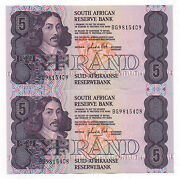 South Africa 2 X 5 Rand 1981 - 1989 Running Numbers Pick 119 C Unc