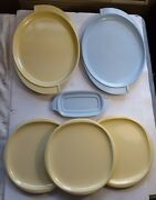 6 Pc Boonton Ware Melmac Yellow And Blue Serving Platter And 3 Plates Boontonware