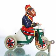 Tin Toy Vintage Monkey Riding Tricycle Wind Up Driving Working Moving Legs Top