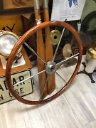 Sailboat Helm Steering Wheel 29 Inches Round 6 Spoke Stainless Steel With Teak.