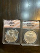 2002 And 2003 Anacs Ms70 American Silver Eagle '' Key Date ''