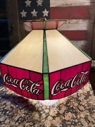 Vintage Coca Cola Stained Glass Style Hanging Lamp Bar Pool Table