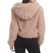 Kendall + Kylie Womenand039s Shaggy Faux Fur Teddy Coat With Drawstring Hood