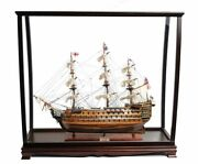 Hms Victory Nelsonand039s Flagship Wood Tall Ship Model 37 W/ Table Top Display Case