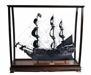 Black Pearl Caribbean Pirate Wood Tall Ship Model 35 W/ Table Top Display Case