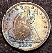 1839 O Seated Liberty Half Dime 5c Rpd Lds Shattered Reverse Sm O Au-unc Toned