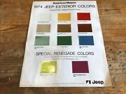 Genuine 1974 Jeep American Motors Colour Chart Advert Poster - Collectible