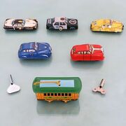 Tin Toy Vintage Cars Car Tram Lot Of 6 Of Which 4 Wind Up Key Full Functioning